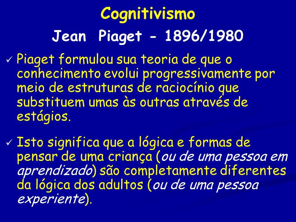 Cognitivismo Jean Piaget - 1896/1980 Piaget formulou sua teoria de que o conhecimento evolui progressivamente por meio de estruturas de raciocínio que substituem umas às outras através de estágios.