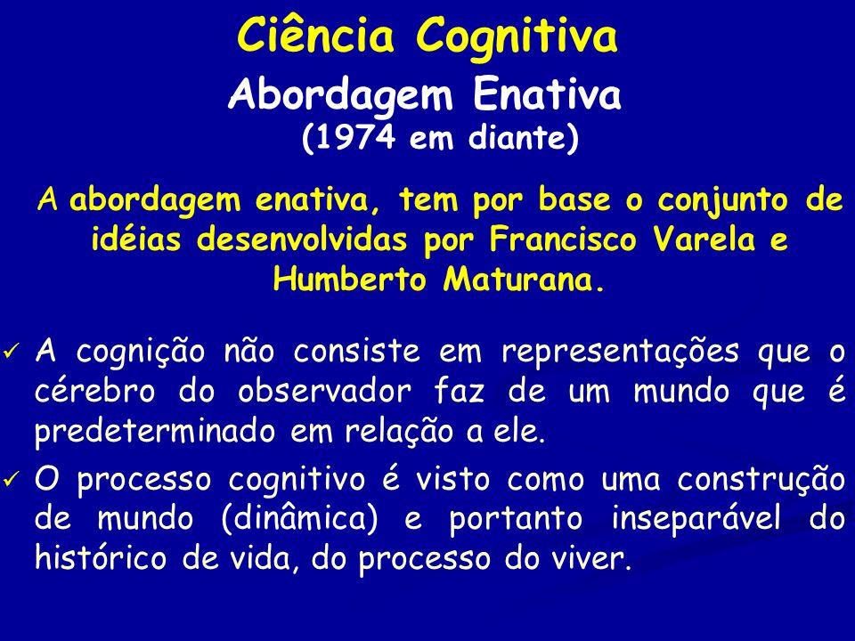 Ciência Cognitiva Abordagem Enativa (1974 em diante) A abordagem enativa, tem por base o conjunto de idéias desenvolvidas por Francisco Varela e Humberto Maturana.