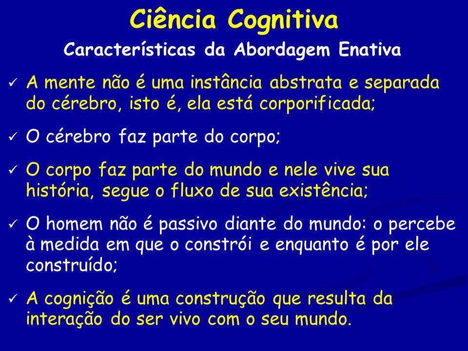 Ciência Cognitiva Características da Abordagem Enativa A mente não é uma instância abstrata e separada do cérebro, isto é, ela está corporificada; O cérebro faz parte do corpo; O corpo faz parte do mundo e nele vive sua história, segue o fluxo de sua existência; O homem não é passivo diante do mundo: o percebe à medida em que o constrói e enquanto é por ele construído; A cognição é uma construção que resulta da interação do ser vivo com o seu mundo.