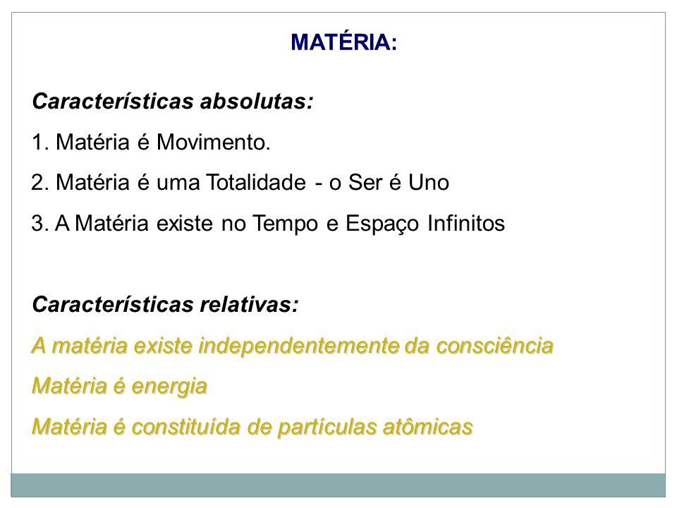 Características absolutas: 1. Matéria é Movimento.