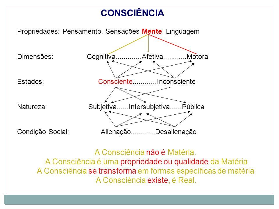 Propriedades: Pensamento, Sensações Mente Linguagem Dimensões: Cognitiva.............Afetiva............Motora Estados: Consciente............Inconsciente Natureza: Subjetiva......Intersubjetiva......Pública Condição Social:Alienação............Desalienação CONSCIÊNCIA A Consciência não é Matéria.