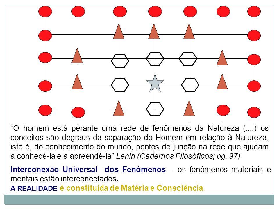 O homem está perante uma rede de fenômenos da Natureza (....) os conceitos são degraus da separação do Homem em relação à Natureza, isto é, do conhecimento do mundo, pontos de junção na rede que ajudam a conhecê-la e a apreendê-la Lenin (Cadernos Filosóficos; pg.