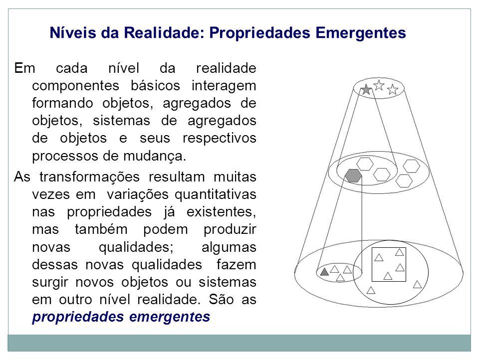 Níveis da Realidade: Propriedades Emergentes Em cada nível da realidade componentes básicos interagem formando objetos, agregados de objetos, sistemas de agregados de objetos e seus respectivos processos de mudança.
