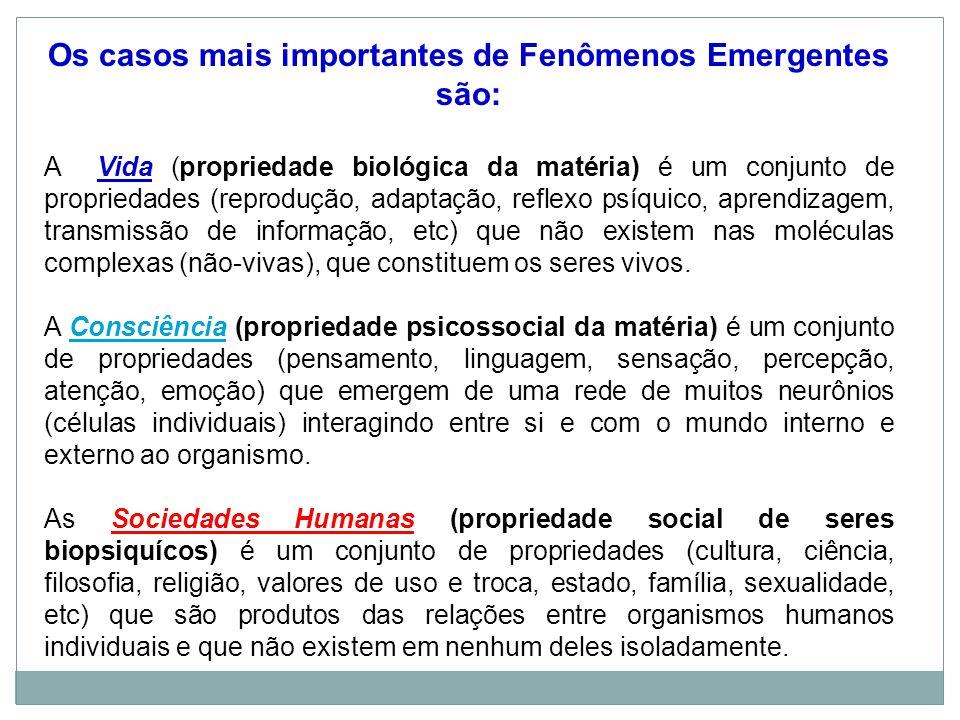 Os casos mais importantes de Fenômenos Emergentes são: A Vida (propriedade biológica da matéria) é um conjunto de propriedades (reprodução, adaptação, reflexo psíquico, aprendizagem, transmissão de informação, etc) que não existem nas moléculas complexas (não-vivas), que constituem os seres vivos.