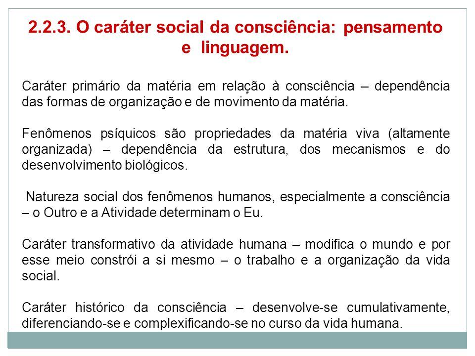 2.2.3. O caráter social da consciência: pensamento e linguagem.