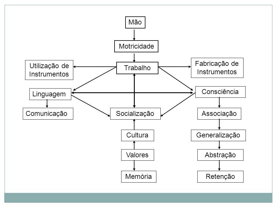 Mão Motricidade Trabalho Utilização de Instrumentos Fabricação de Instrumentos Linguagem Consciência ComunicaçãoAssociaçãoSocialização Cultura Valores Memória Generalização Abstração Retenção