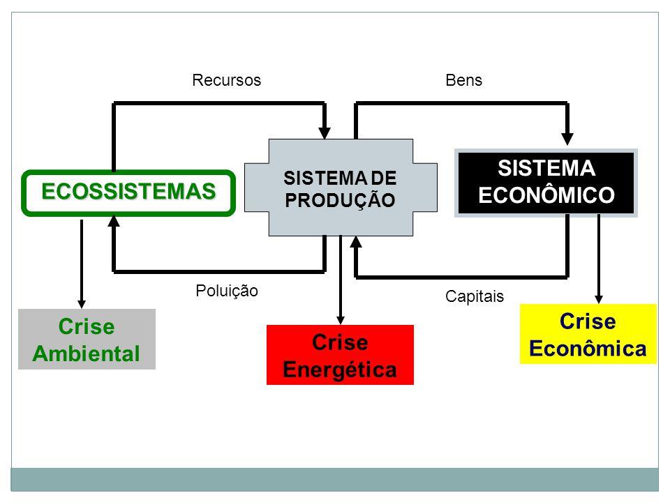 RecursosBens SISTEMA ECONÔMICO Capitais SISTEMA DE PRODUÇÃO ECOSSISTEMAS Poluição Crise Ambiental Crise Energética Crise Econômica