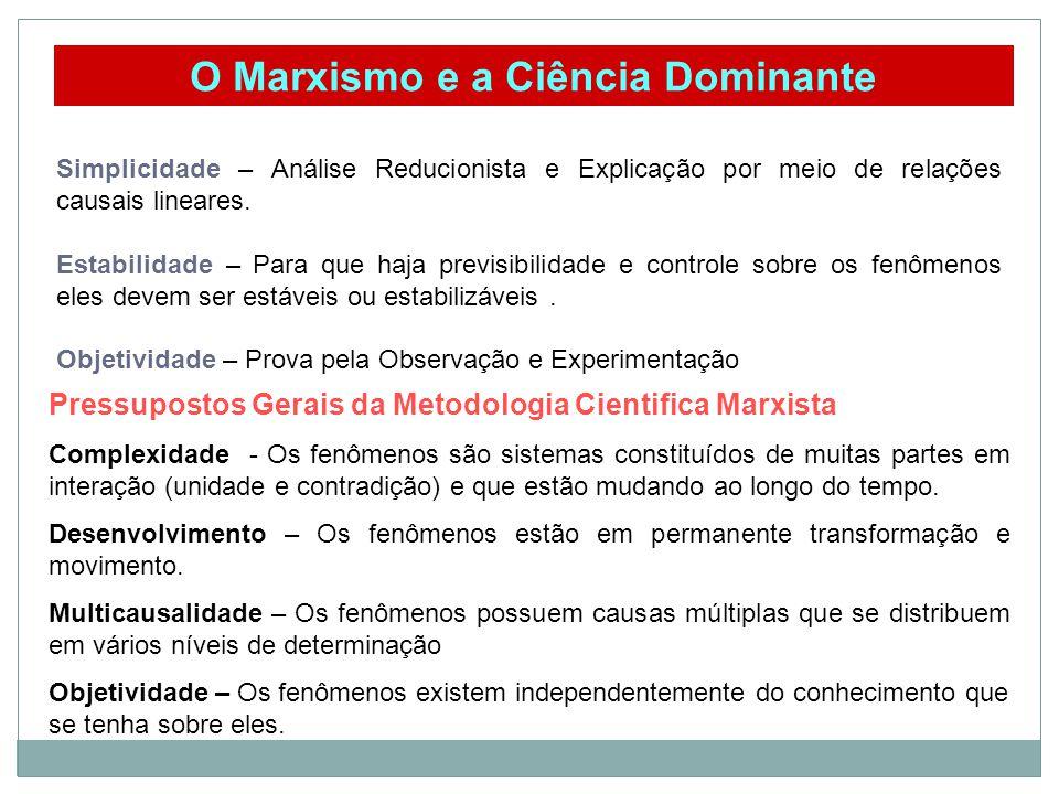 O Marxismo e a Ciência Dominante Simplicidade – Análise Reducionista e Explicação por meio de relações causais lineares.