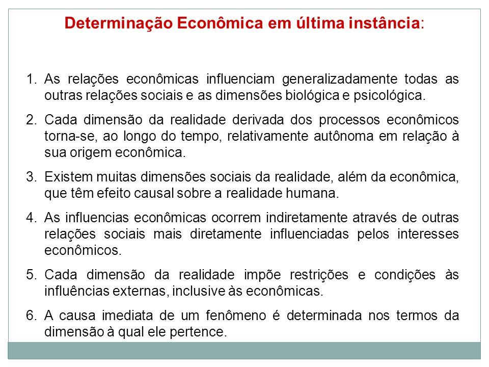 Determinação Econômica em última instância: 1.As relações econômicas influenciam generalizadamente todas as outras relações sociais e as dimensões biológica e psicológica.