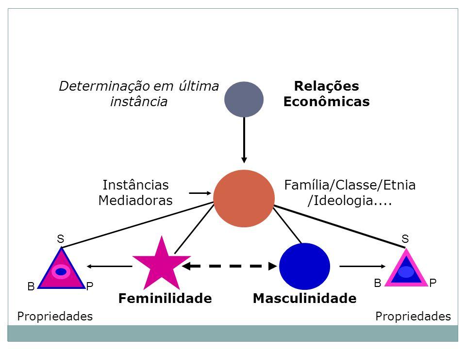 Relações Econômicas Determinação em última instância MasculinidadeFeminilidade Propriedades S BP PB S Instâncias Mediadoras Família/Classe/Etnia /Ideologia....