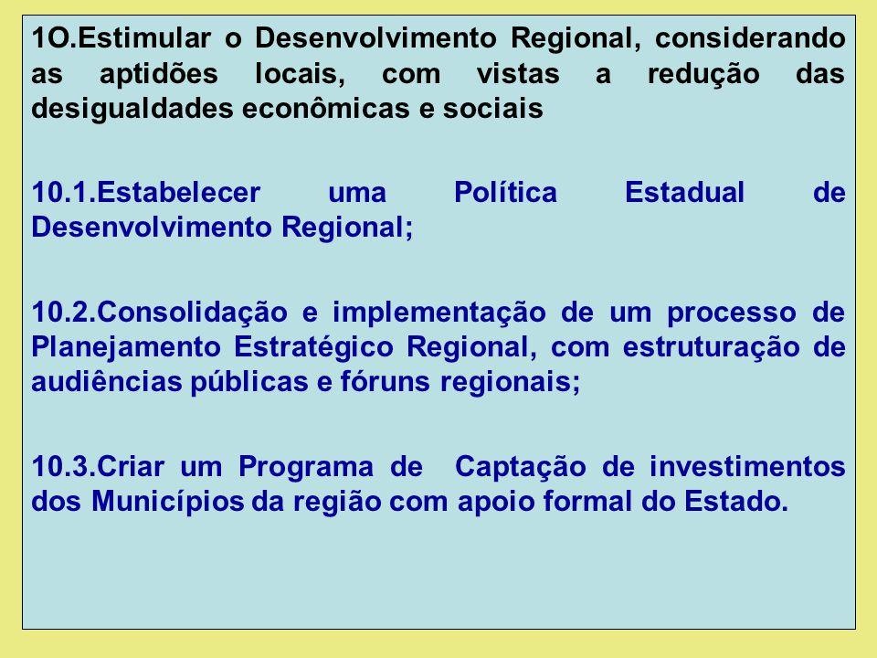 1O.Estimular o Desenvolvimento Regional, considerando as aptidões locais, com vistas a redução das desigualdades econômicas e sociais 10.1.Estabelecer