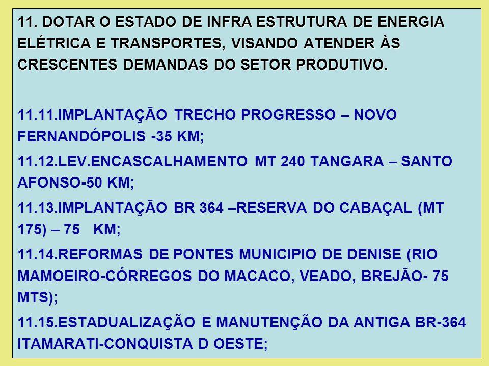 11. DOTAR O ESTADO DE INFRA ESTRUTURA DE ENERGIA ELÉTRICA E TRANSPORTES, VISANDO ATENDER ÀS CRESCENTES DEMANDAS DO SETOR PRODUTIVO. 11.11.IMPLANTAÇÃO