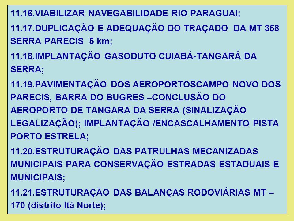 11.16.VIABILIZAR NAVEGABILIDADE RIO PARAGUAI; 11.17.DUPLICAÇÃO E ADEQUAÇÃO DO TRAÇADO DA MT 358 SERRA PARECIS 5 km; 11.18.IMPLANTAÇÃO GASODUTO CUIABÁ-