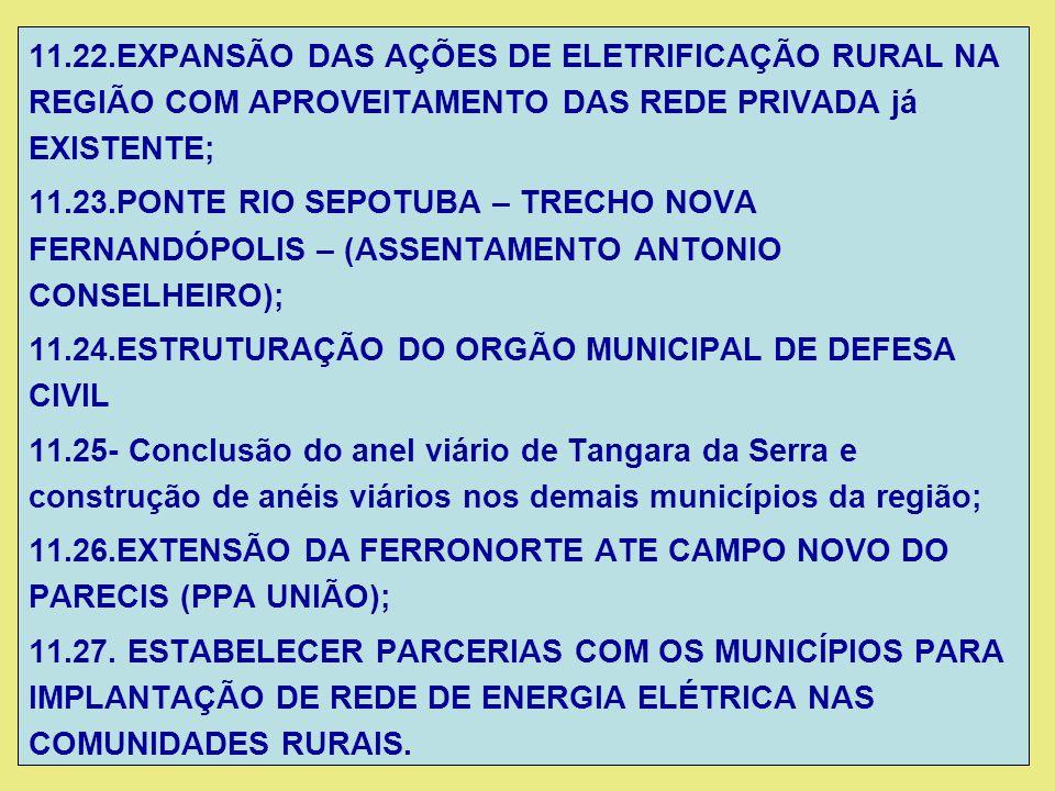 11.22.EXPANSÃO DAS AÇÕES DE ELETRIFICAÇÃO RURAL NA REGIÃO COM APROVEITAMENTO DAS REDE PRIVADA já EXISTENTE; 11.23.PONTE RIO SEPOTUBA – TRECHO NOVA FER