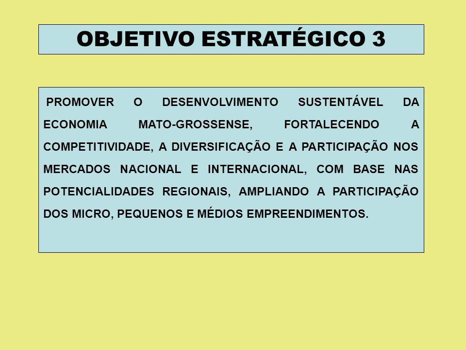 OBJETIVO ESTRATÉGICO 3 PROMOVER O DESENVOLVIMENTO SUSTENTÁVEL DA ECONOMIA MATO-GROSSENSE, FORTALECENDO A COMPETITIVIDADE, A DIVERSIFICAÇÃO E A PARTICI