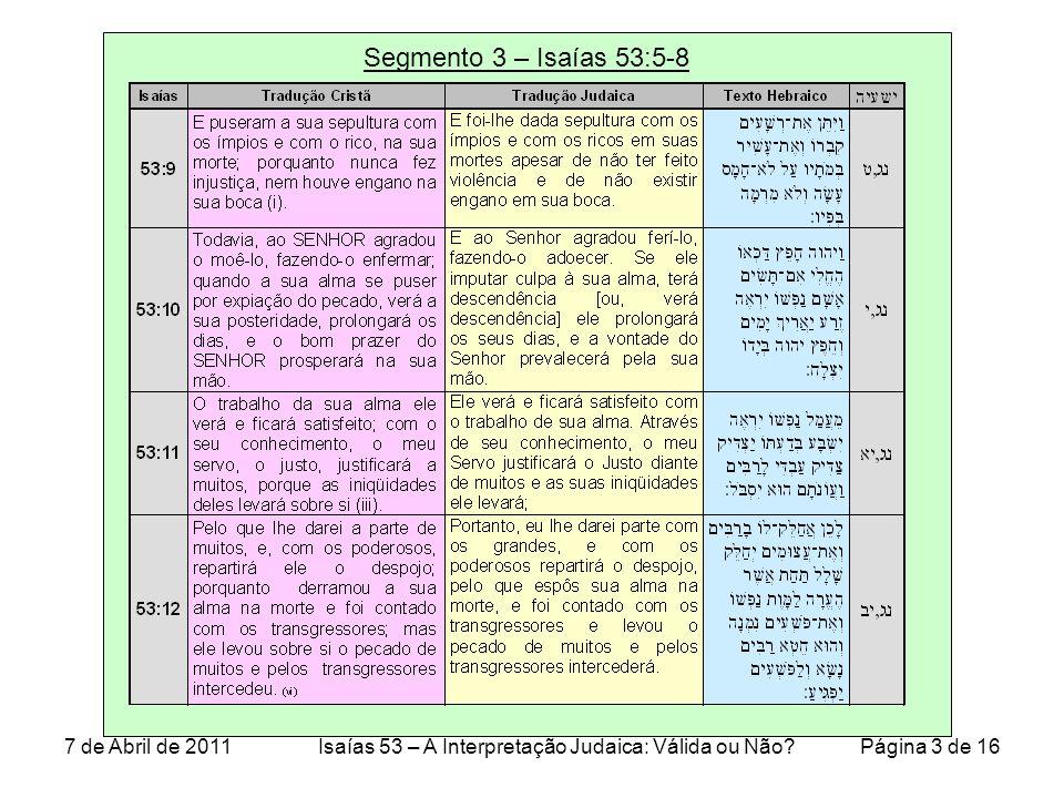 Segmento 3 – Isaías 53:5-8 7 de Abril de 2011Isaías 53 – A Interpretação Judaica: Válida ou Não.