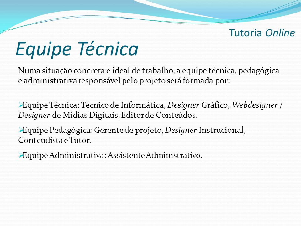 Equipe Técnica Numa situação concreta e ideal de trabalho, a equipe técnica, pedagógica e administrativa responsável pelo projeto será formada por: 