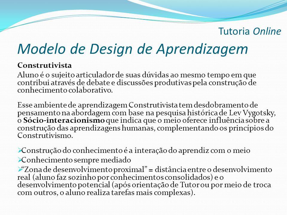 Modelo de Design de Aprendizagem Construtivista Aluno é o sujeito articulador de suas dúvidas ao mesmo tempo em que contribui através de debate e disc