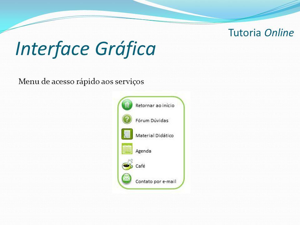 Interface Gráfica Menu de acesso rápido aos serviços Tutoria Online