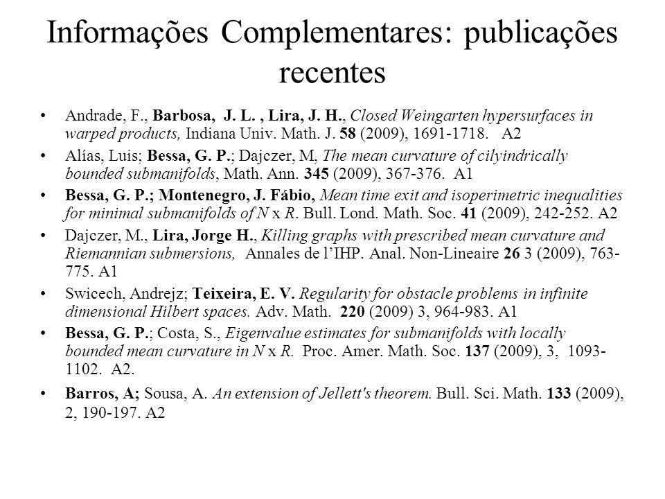 Informações Complementares: publicações recentes Andrade, F., Barbosa, J.