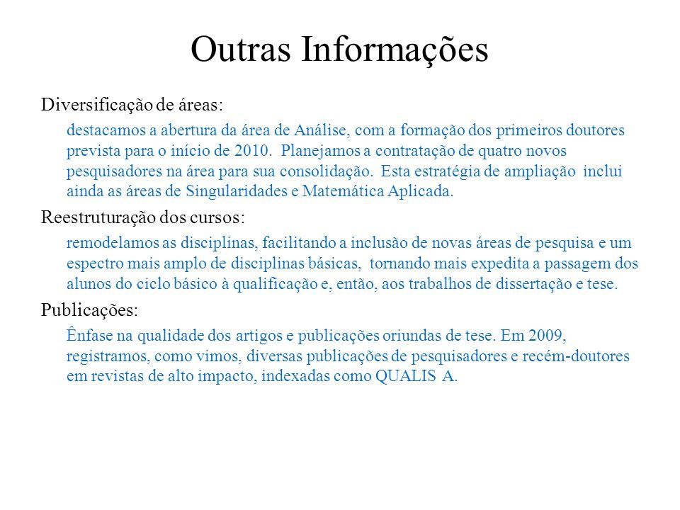 Outras Informações Diversificação de áreas: destacamos a abertura da área de Análise, com a formação dos primeiros doutores prevista para o início de 2010.