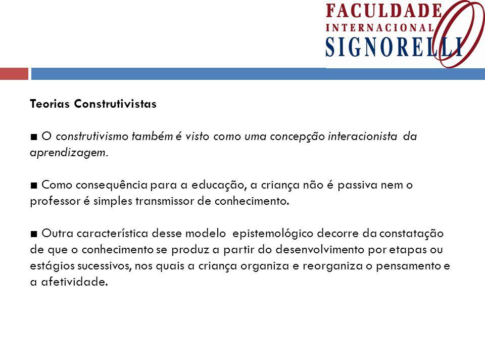 Teorias Construtivistas ■ O construtivismo também é visto como uma concepção interacionista da aprendizagem.