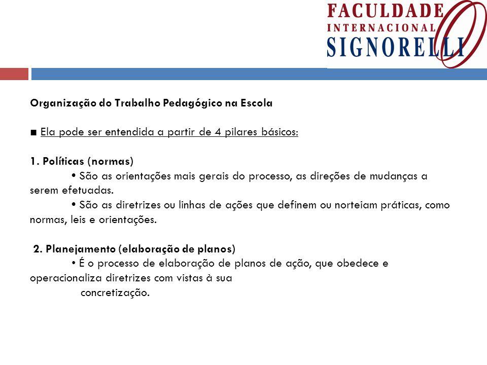 Organização do Trabalho Pedagógico na Escola ■ Ela pode ser entendida a partir de 4 pilares básicos: 1.