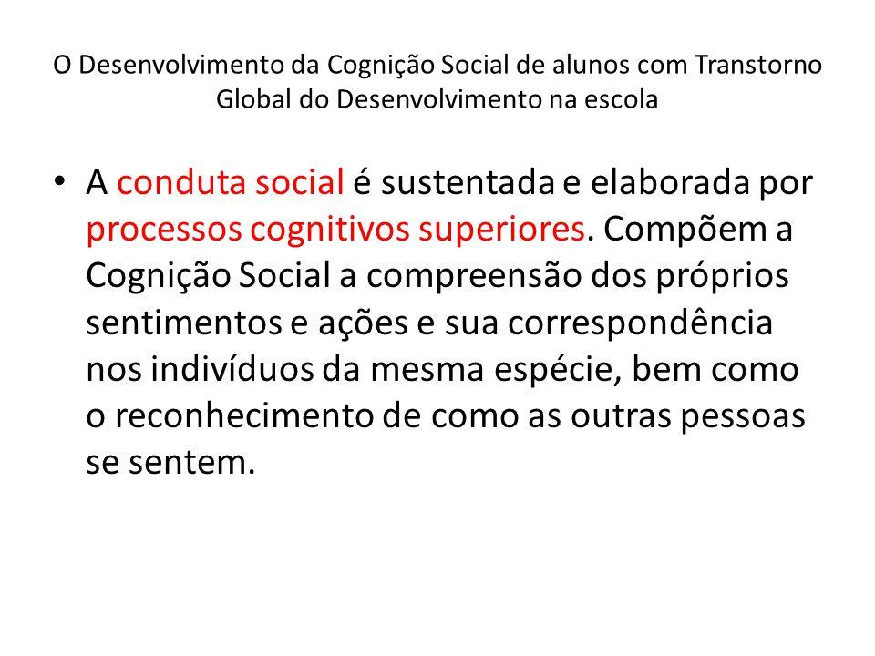 O Desenvolvimento da Cognição Social de alunos com Transtorno Global do Desenvolvimento na escola A conduta social é sustentada e elaborada por processos cognitivos superiores.