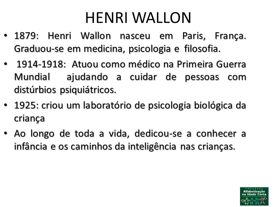 HENRI WALLON 1879: Henri Wallon nasceu em Paris, França. Graduou-se em medicina, psicologia e filosofia. 1879: Henri Wallon nasceu em Paris, França. G