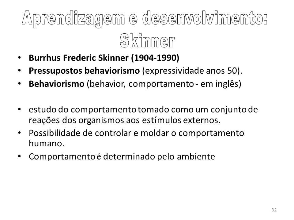 32 Burrhus Frederic Skinner (1904-1990) Pressupostos behaviorismo (expressividade anos 50). Behaviorismo (behavior, comportamento - em inglês) estudo
