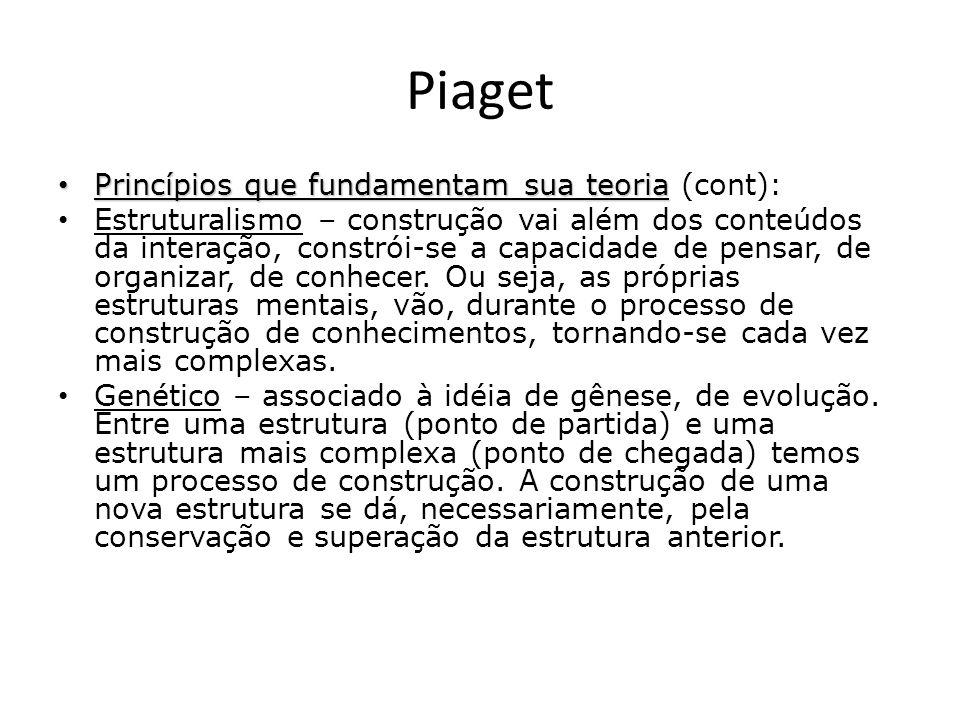 Piaget Princípios que fundamentam sua teoria Princípios que fundamentam sua teoria (cont): Estruturalismo – construção vai além dos conteúdos da inter