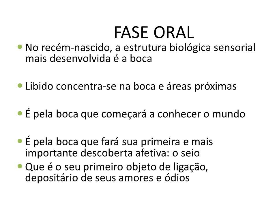 FASE ORAL No recém-nascido, a estrutura biológica sensorial mais desenvolvida é a boca Libido concentra-se na boca e áreas próximas É pela boca que co