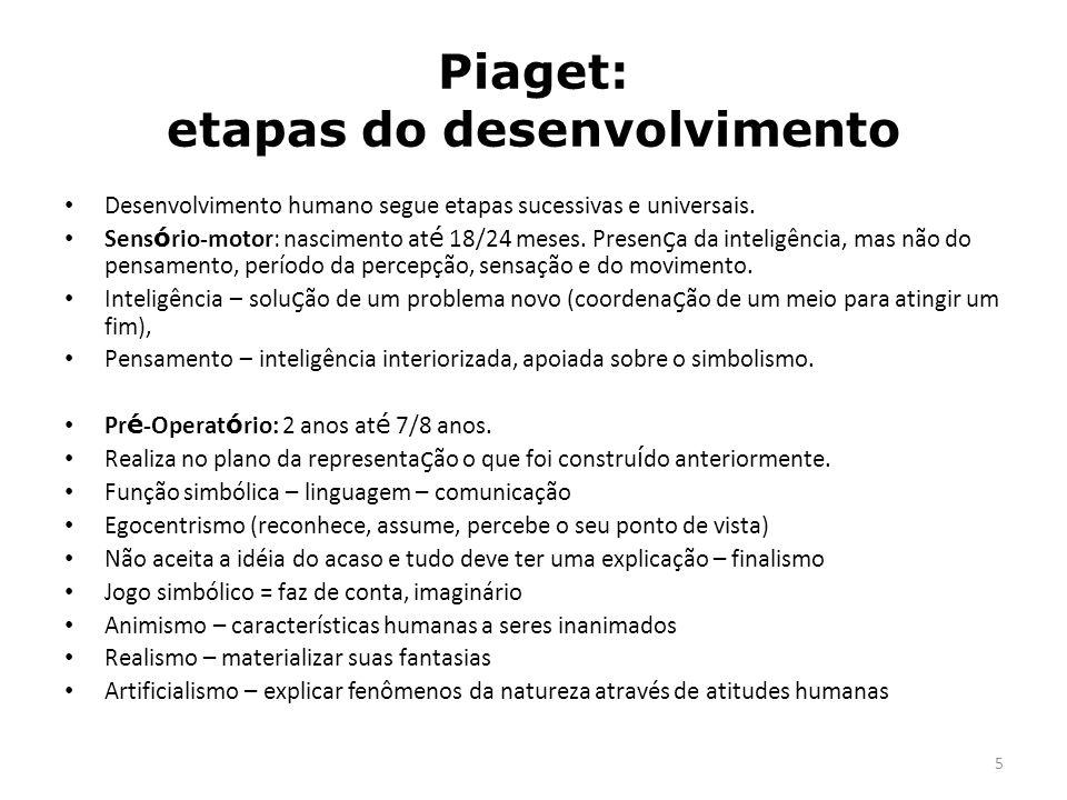 5 Piaget: etapas do desenvolvimento Desenvolvimento humano segue etapas sucessivas e universais. Sens ó rio-motor: nascimento at é 18/24 meses. Presen