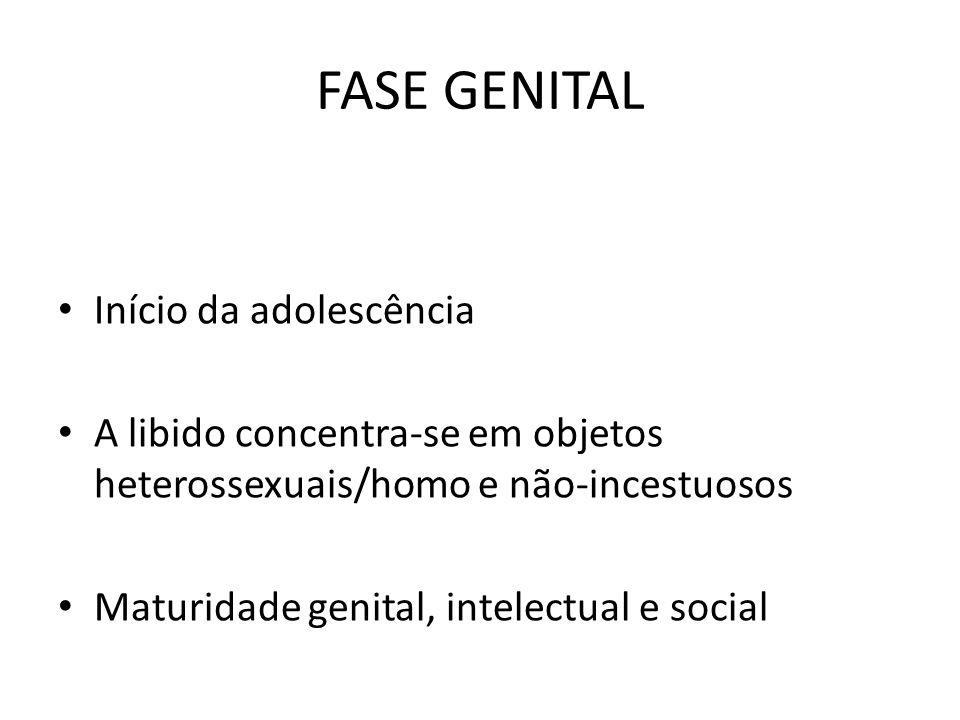 FASE GENITAL Início da adolescência A libido concentra-se em objetos heterossexuais/homo e não-incestuosos Maturidade genital, intelectual e social