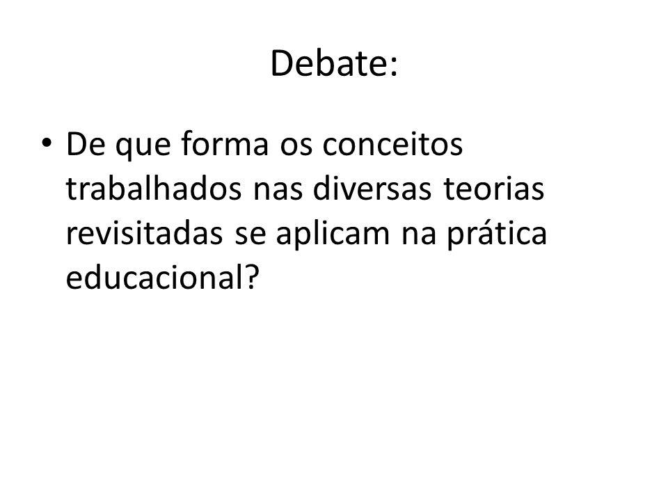 Debate: De que forma os conceitos trabalhados nas diversas teorias revisitadas se aplicam na prática educacional?