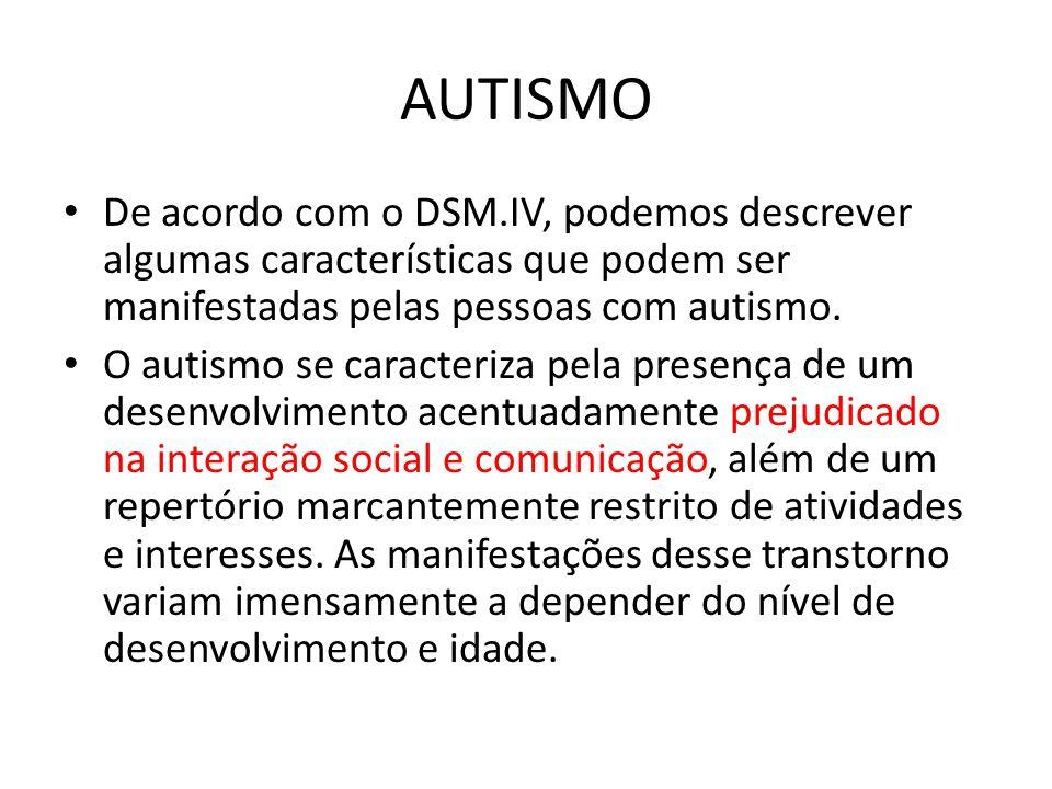 AUTISMO De acordo com o DSM.IV, podemos descrever algumas características que podem ser manifestadas pelas pessoas com autismo. O autismo se caracteri