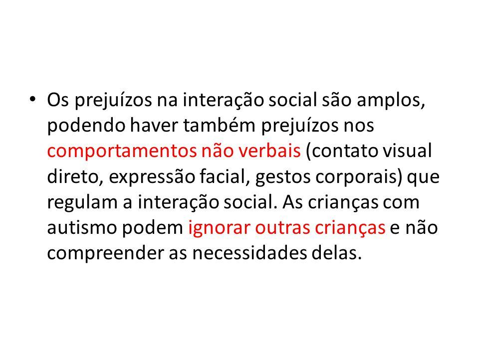 Os prejuízos na interação social são amplos, podendo haver também prejuízos nos comportamentos não verbais (contato visual direto, expressão facial, g