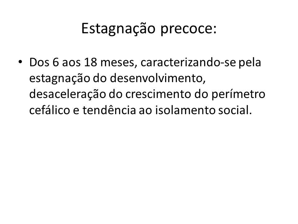 Estagnação precoce: Dos 6 aos 18 meses, caracterizando-se pela estagnação do desenvolvimento, desaceleração do crescimento do perímetro cefálico e tendência ao isolamento social.