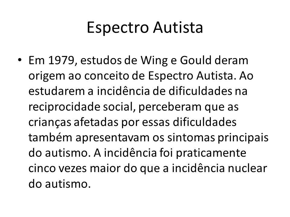 Espectro Autista Em 1979, estudos de Wing e Gould deram origem ao conceito de Espectro Autista. Ao estudarem a incidência de dificuldades na reciproci