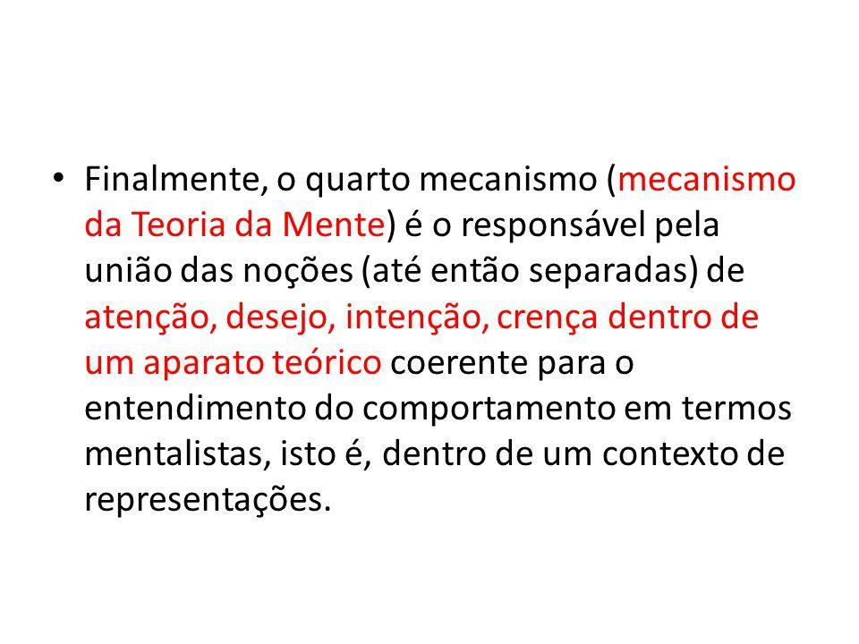 Finalmente, o quarto mecanismo (mecanismo da Teoria da Mente) é o responsável pela união das noções (até então separadas) de atenção, desejo, intenção