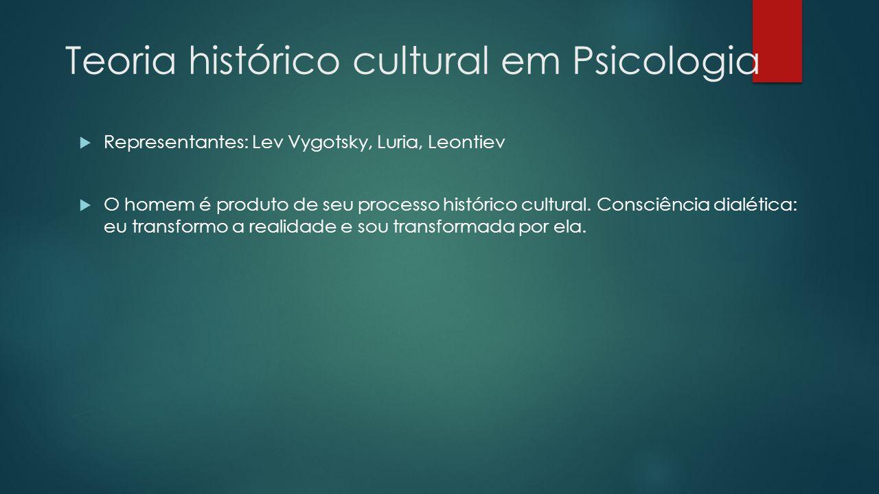 Teoria histórico cultural em Psicologia  Representantes: Lev Vygotsky, Luria, Leontiev  O homem é produto de seu processo histórico cultural. Consci