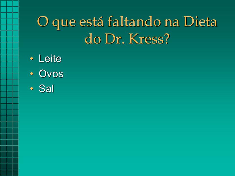 O que está faltando na Dieta do Dr. Kress? LeiteLeite OvosOvos SalSal