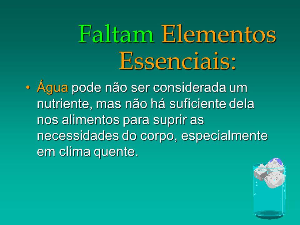 Faltam Elementos Essenciais: Água pode não ser considerada um nutriente, mas não há suficiente dela nos alimentos para suprir as necessidades do corpo