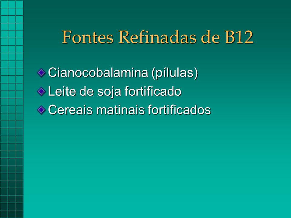 Fontes Refinadas de B12 Cianocobalamina (pílulas) Leite de soja fortificado Cereais matinais fortificados