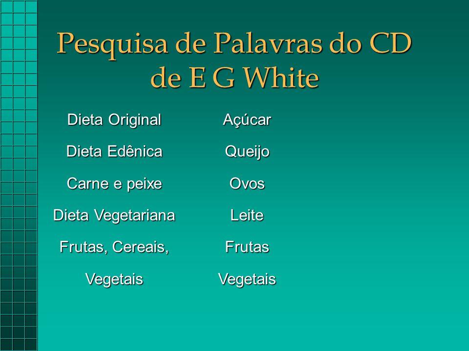 Pesquisa de Palavras do CD de E G White Dieta Original Dieta Edênica Carne e peixe Dieta Vegetariana Frutas, Cereais, VegetaisAçúcarQueijoOvosLeiteFru