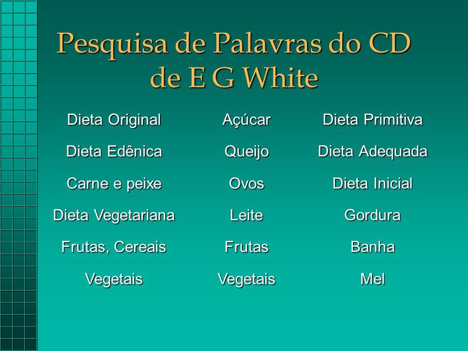 Pesquisa de Palavras do CD de E G White Dieta Primitiva Dieta Adequada Dieta Inicial GorduraBanhaMel Dieta Original Dieta Edênica Carne e peixe Dieta