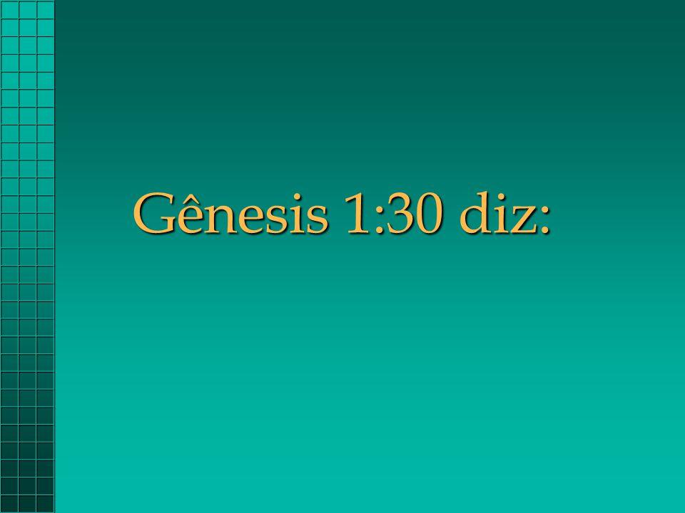 Gênesis 1:30 diz: