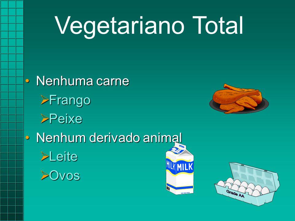 Nenhuma carneNenhuma carne  Frango  Peixe Nenhum derivado animalNenhum derivado animal  Leite  Ovos Vegetariano Total
