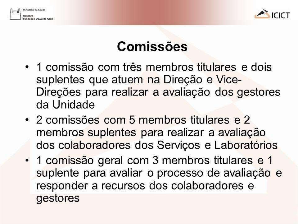 AVALIAÇÃO DE DESEMPENHO 2009 - ICICT Comissões 1 comissão com três membros titulares e dois suplentes que atuem na Direção e Vice- Direções para reali