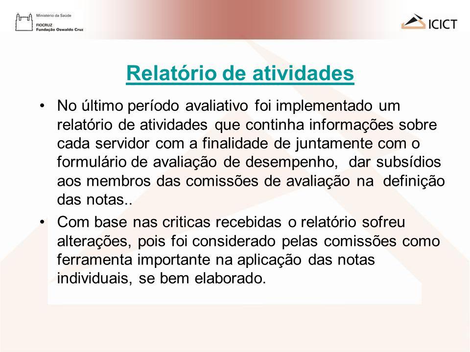 AVALIAÇÃO DE DESEMPENHO 2009 - ICICT Relatório de atividades No último período avaliativo foi implementado um relatório de atividades que continha inf